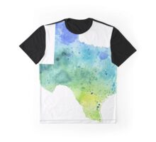 Watercolor Map of Texas, USA in Blue and Green - Giclee Print of My Own Watercolor Painting Graphic T-Shirt