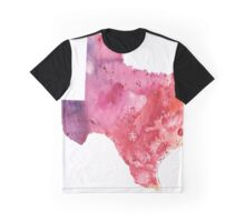 Watercolor Map of Texas, USA in Orange, Red and Purple - Giclee Print of my Own Painting Graphic T-Shirt