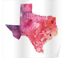 Watercolor Map of Texas, USA in Orange, Red and Purple - Giclee Print of my Own Painting Poster