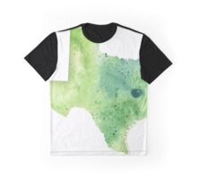 Watercolor Map of Texas, USA in Green - Giclee Print My Own Watercolor Painting Graphic T-Shirt