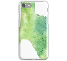 Watercolor Map of Texas, USA in Green - Giclee Print My Own Watercolor Painting iPhone Case/Skin