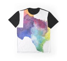 Watercolor Map of Texas, USA in Rainbow Colors - Giclee Print of My Own Watercolor Painting Graphic T-Shirt
