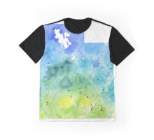 Watercolor Map of Utah, USA in Blue and Green - Giclee Print of My Own Watercolor Painting Graphic T-Shirt