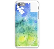 Watercolor Map of Utah, USA in Blue and Green - Giclee Print of My Own Watercolor Painting iPhone Case/Skin