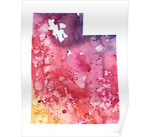 Watercolor Map of Utah, USA in Orange, Red and Purple - Giclee Print of my Own Painting Poster