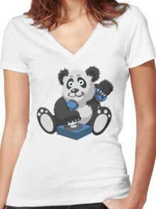 DJ Panda Women's Fitted V-Neck T-Shirt