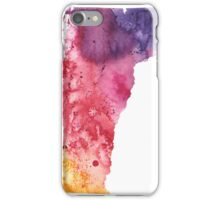 Watercolor Map of Vermont, USA in Orange, Red and Purple - Giclee Print of my Own Painting iPhone Case/Skin