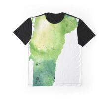 Watercolor Map of Vermont, USA in Green - Giclee Print My Own Watercolor Painting Graphic T-Shirt
