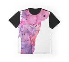 Watercolor Map of Vermont,USA in Pink and Purple - Giclee Print of My Own Watercolor Painting Graphic T-Shirt