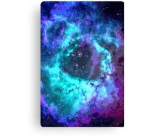 Pixel Blue Purple Nebula Canvas Print