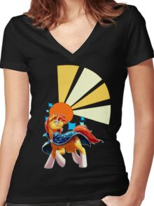 Sunburst Cutiemark Women's Fitted V-Neck T-Shirt