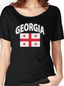 Georgia Flag in Georgia Map Women's Relaxed Fit T-Shirt