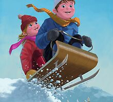 children snow sleigh ride by martyee