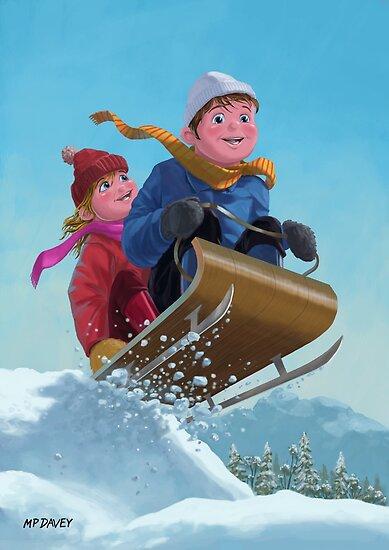 children snow sleigh ride by martyee