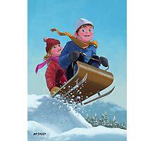 children snow sleigh ride Photographic Print