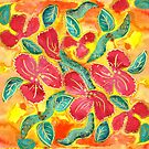 Watercolor Painting Tropical Red Hibiscus Gold Glitter by Beverly Claire Kaiya