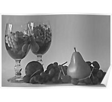Still Life Wine and Fruit in B & W Poster