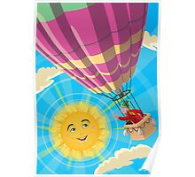 Girl in a balloon greeting a happy sun Poster