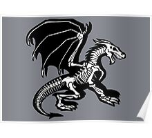 Grey Background Black Skeleton Dragon Design, Bag of Bones Dragon Poster