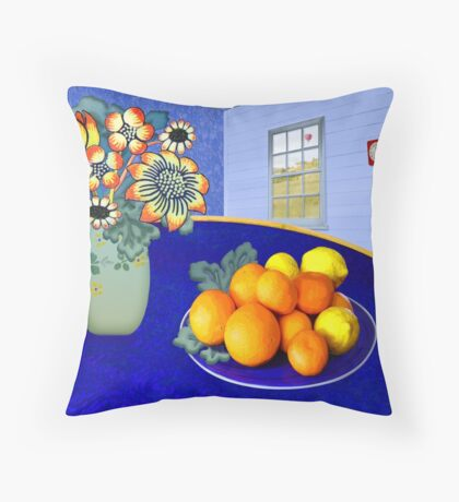 Oranges and Lemons in a Blue Bowl Throw Pillow