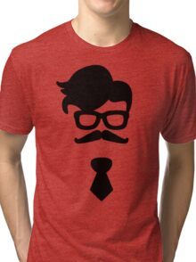 Hipster Silhouette #4 - Hairstyle, Glasses, Mustache, Tie Tri-blend T-Shirt