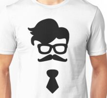 Hipster Silhouette #4 - Hairstyle, Glasses, Mustache, Tie Unisex T-Shirt