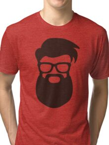Hipster Silhouette #7 - Hairstyle, Glasses, Big Beard Tri-blend T-Shirt