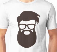 Hipster Silhouette #7 - Hairstyle, Glasses, Big Beard Unisex T-Shirt