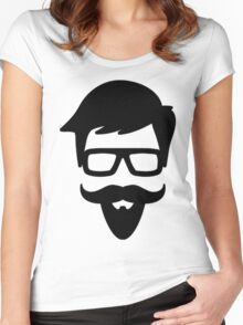 Hipster Silhouette #9 - Glasses, Mustache, Goatee Women's Fitted Scoop T-Shirt