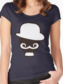 Hipster Silhouette #8 - Fedora, Mustache, Goatee Women's Fitted Scoop T-Shirt