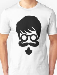 Hipster Silhouette #10 - Circle Glasses, Curly Mustache, Goatee Unisex T-Shirt
