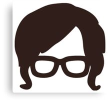 Hipster Silhouette #6 - Retro Hair/Sideburns, Glasses Canvas Print