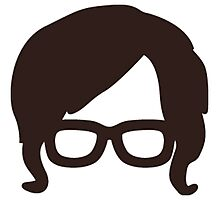 Hipster Silhouette #6 - Retro Hair/Sideburns, Glasses Photographic Print