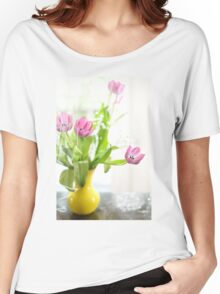 Pink Tulips In Yellow Vase Women's Relaxed Fit T-Shirt