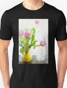 Pink Tulips In Yellow Vase Unisex T-Shirt