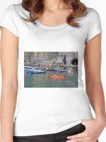 Boats on the coast of Vernazza (Vulnetia), a small town in province of La Spezia, Liguria, Italy. It's one of the lands of Cinque Terre, UNESCO World Heritage Sit Women's Fitted Scoop T-Shirt