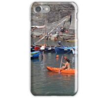 Boats on the coast of Vernazza (Vulnetia), a small town in province of La Spezia, Liguria, Italy. It's one of the lands of Cinque Terre, UNESCO World Heritage Sit iPhone Case/Skin