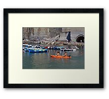 Boats on the coast of Vernazza (Vulnetia), a small town in province of La Spezia, Liguria, Italy. It's one of the lands of Cinque Terre, UNESCO World Heritage Sit Framed Print