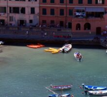 Boats on the coast of Vernazza, Vulnetia, a small town in province of La Spezia, Liguria, Italy. It is one of the lands of Cinque Terre, UNESCO World Heritage Sit Sticker