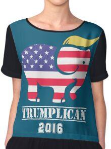 "Trumplican 2016. Trump  ""Make America Great Again"" Chiffon Top"