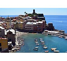 Boats on the coast of Vernazza, Vulnetia, a small town in province of La Spezia, Liguria, Italy. It is one of the lands of Cinque Terre, UNESCO World Heritage Sit Photographic Print