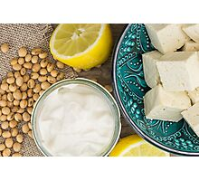 Soy mayonnaise, lemon, soybeans and tofu Photographic Print