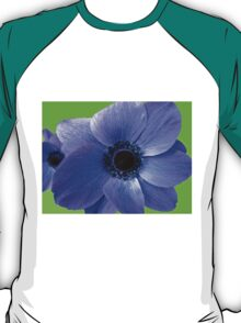 Blue Anemone on Green Background T-Shirt