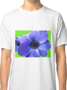 Blue Anemone on Green Background Classic T-Shirt