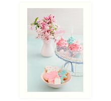 Baby shower cupcakes and cookies Art Print
