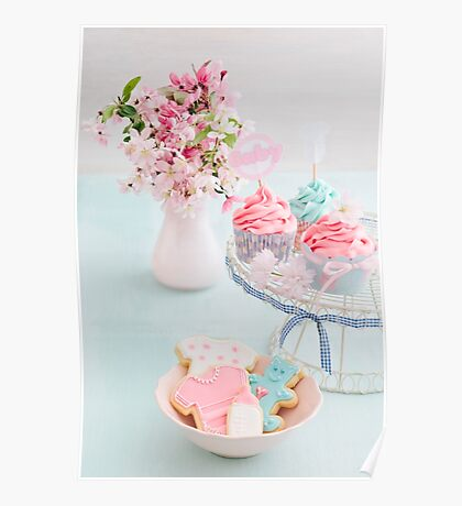 Baby shower cupcakes and cookies Poster
