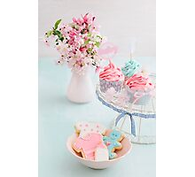 Baby shower cupcakes and cookies Photographic Print