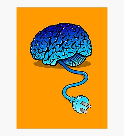Your Brain without Coffee - Blue Photographic Print