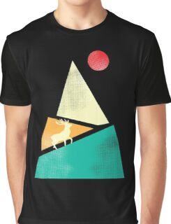 deer mountain with red moon Graphic T-Shirt