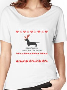 dachshund in snow Women's Relaxed Fit T-Shirt